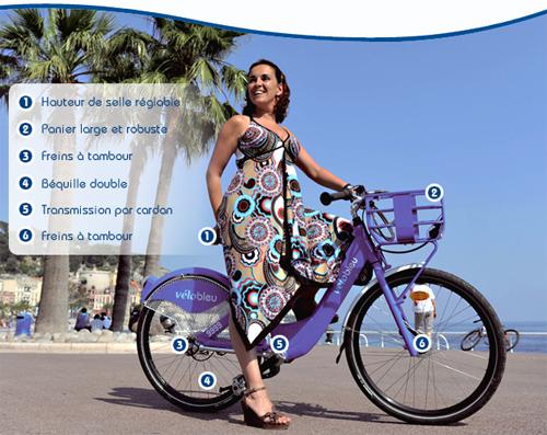 Vélo en libre service à Nice, le vélobleu